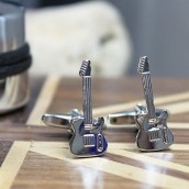 engraved guitar cufflinks