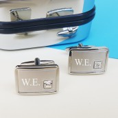 engraved crystal cufflinks