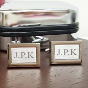 personalised brushed silver rectangle cufflinks