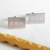 engraved crystal trio cufflinks