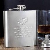 engraved heart hip flask