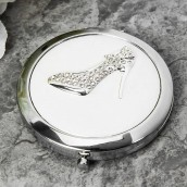 engraved crystal shoe compact mirror