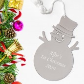 snowman tree decoration personalised