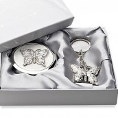 engraved butterfly keyring and compact mirror