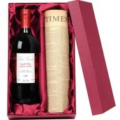 personalised wine and newspaper gift set