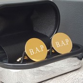 engraved gold round cufflinks
