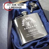 engraved birthday hip flask