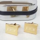 gold plated engraved rectangle cufflinks