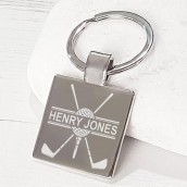 engraved square golf keyring