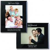 engraved black glass photo frame