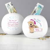 personalised 1st christmas teddy money box