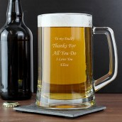 engraved glass pint tankard