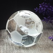 engraved crystal football paper weight