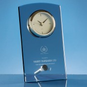 engraved glass desk clock