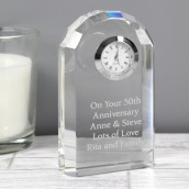 engraved arched crystal clock