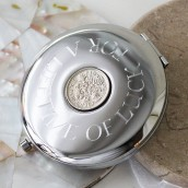 engraved lucky sixpence compact mirror