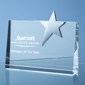 engraved crystal star block award