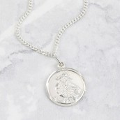 silver st christopher engraved