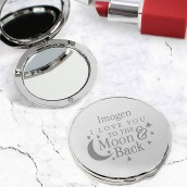personalised silver compact mirror