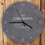 personalised family slate wall clock