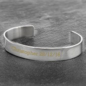 engraved silver mans bangle