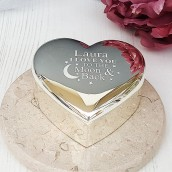 Love you to the moon and backsilver heart trinket box
