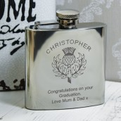 engraved thistle hip flask