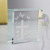 personalised memorial crystal block