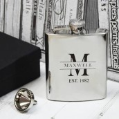 engraved monogram hip flask
