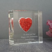 personalised love heart crystal block