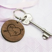 engraved love heart keyring