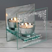 engraved teal light holder