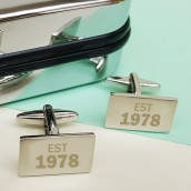 engraved rectangle cufflinks