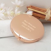 engraved rose gold compact mirror