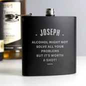 engraved black hip flask