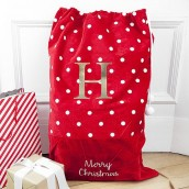 personalised spotty santa sack