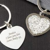heart keyring engraved
