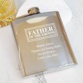 engraved father of the groom hip flask