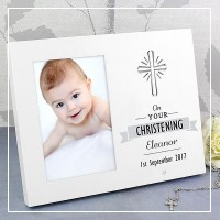 engraved christening photo frames