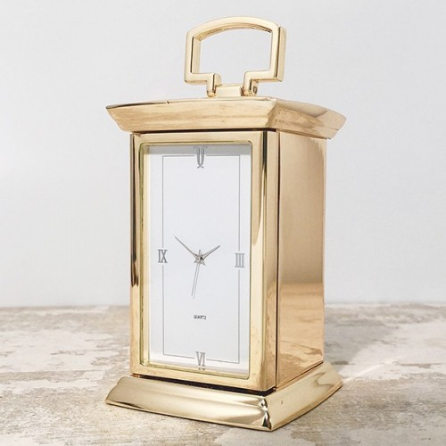 Engraved Gold Plated Carriage Clock