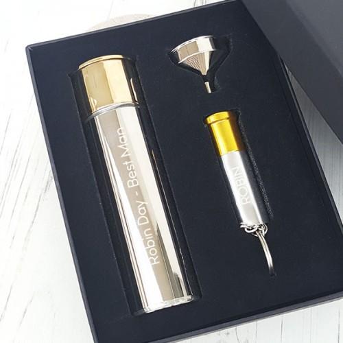 Engraved Gun Cartridge Hip Flask And Torch Gift Set