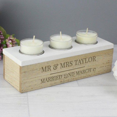 Personalised Triple Tea Light Holder And Storage Box