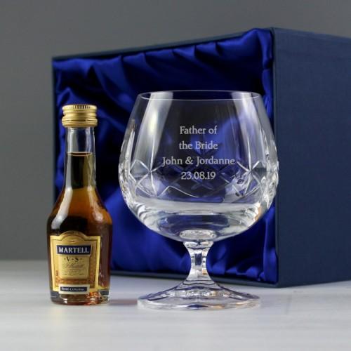 Personalised Lead Crystal Amp Brandy Gift Set